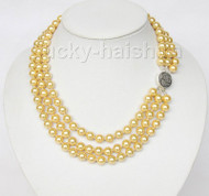 "16"" 3row 8mm round yellow sea shell pearls necklace 925 silver clasp j9587"