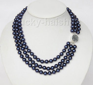 "16"" 3row 8mm round navy blue sea shell pearls necklace 925 silver clasp j9583"