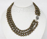 "16"" 3row 8mm round dark green sea shell pearls necklace 925 silver clasp j9582"