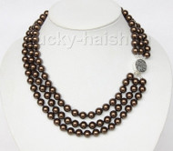 "16"" 3row 8mm round dark coffee sea shell pearls necklace 925 silver clasp j9581"