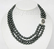 "16"" 3row 8mm round black sea shell pearls necklace 925 silver clasp j9580"