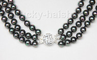 "16"" 3row 8mm round peacock black sea shell pearl necklace 925 silver clasp j9579"