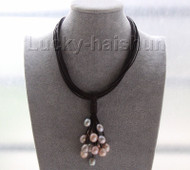 "16"" 14mm gray purple pink pearls wine red leather necklace magnet clasp j9568"