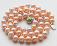 "AAA luster 18"" 9mm pink round pearls necklace ladybug 925 silver clasp j9536"