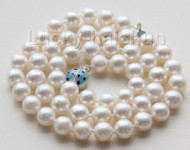 "AAA luster 18"" 9mm white round pearls necklace ladybug 925 silver clasp j9535"