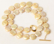 "16"" 12mm coin fastener champagne pearls necklace filled gold clasp j9502"