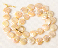 "16"" 12mm natural coin fastener pink pearls necklace filled gold clasp j9497"