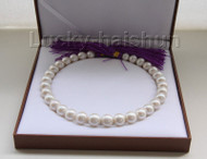 "NATURAL 17"" 15MM ROUND WHITE SOUTH SEA PEARL NECKLACE ROLLED GOLD CLASP j9482"