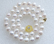 "luster 17"" 10mm natural round white freshwater pearls necklace j9469"