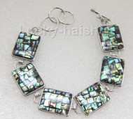 """AAA natural 17X21mm natural abalone shell bracelet 7-8"""" adjustable j9458"""