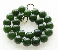 "18"" 16mm natural round dark green jade necklace filled gold clasp j9419"