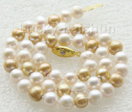 "17"" 9mm round white champagne Multicolor freshwater pearls necklace j9413"