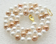 "17"" 9mm round white champagne freshwater pearls necklace j9409"