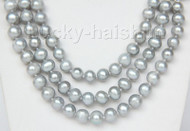 "16"" 3 Strand 9mm gray FW pearls necklace cameo seashell clasp j9376"
