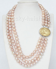 "16"" 3 row 9mm pink-purple pearls necklace cameo seashell clasp j9375"