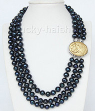 "16"" 3 Strand 9mm black FW pearls necklace cameo seashell clasp j9373"