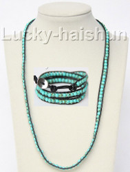 "natural 21""-23"" 6mm Handcrafted leather green turquoise necklace bracelet j9353"