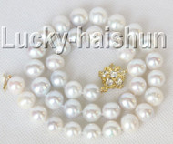 """natural 17"""" 12mm round white freshwater pearls necklace clasp j9300"""