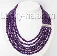 "Genuine 16""-21"" 6mm 6row round amethyst bead necklace 925sc clasp j9289"