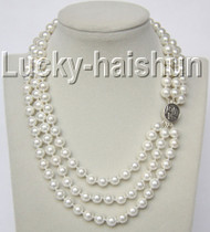 "16"" 3row 8mm round white south sea shell pearls necklace 925 silver clasp j9283"