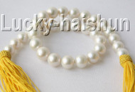 "NATURAL 17"" 15MM ROUND WHITE SOUTH SEA PEARL NECKLACE ROLLED GOLD CLASP j9282"