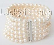 "Genuine  8"" 7mm white round freshwater pearls bracelet magnet clasp j9202"