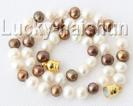 "17"" 9mm round coffee white Freshwater pearls necklace magnet clasp j9194"
