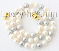 "17"" 9mm round Gray white Freshwater pearls necklace magnet clasp j9193"