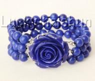 "8"" 3row 8mm round lapis lazuli bracelet 18KGP j9181"