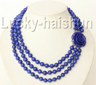 "17"" 3row 8mm round lapis lazuli necklace 18KGP j9180"