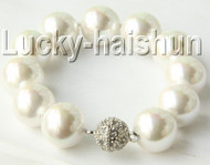 "8"" 16mm round white south sea shell pearls bracelet zircon magnet clasp j9179"