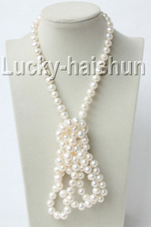 "luster 50"" 10mm round white freshwater pearls necklace j9121"