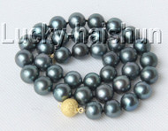 """Genuine 17"""" 12mm round peacock black freshwater pearls necklace j9119"""
