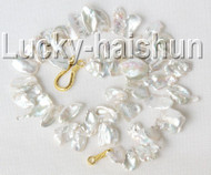 "luster 17"" 21mm white Reborn keshi pearls necklace gold plated clasp j9110"