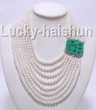 "natural 17""-24"" 8row 7mm round white pearls necklace 925sc turquoise clasp j9092"