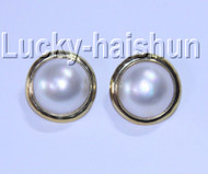 AAA natural 19.5mm white South Sea Mabe Pearls Earrings Clip-on 925 silver j9081