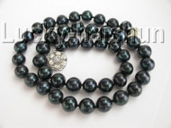 "17"" 10mm round black Freshwater pearls necklace 18KGP clasp j9075"