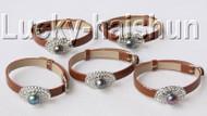 5 piece adjustable ellipse coffee leather black pearls bracelet j9014A12F16