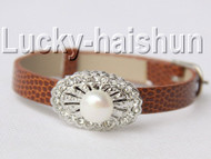 5 piece adjustable ellipse coffee leather white pearls bracelet j9013A12F14