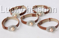 5 piece adjustable ellipse coffee leather pink pearls bracelet j9012A12F14