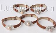 5 piece adjustable ellipse coffee leather purple pearls bracelet j9011A12F14