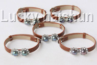 5piece adjustable khaki leather round black pearls bracelet j9006A12F14