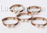 5piece adjustable khaki leather round pink pearls bracelet j9005A12F14
