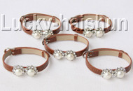 5piece adjustable khaki leather round white pearls bracelet j9004A12F14