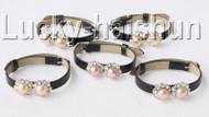 5piece adjustable black leather round pink FW pearls bracelet j9002A12F16
