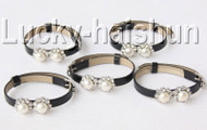 5piece adjustable black leather round white FW pearls bracelet j8999A12F16