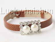 5piece adjustable coffee leather 9mm round white pearls bracelet j8995A12F16