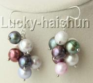 10mm Dangle Gray black pink green Multicolor pearls Earrings 925s hook j8950