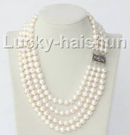 "16"" 4 Strand 9mm white FW pearls necklace 925 silver clasp j8938"