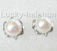 13mm white pearls Earrings Platinum Plated Stud j8888